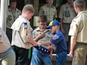 Respecting the flag - Julie Wright Camp Mack Pack Camp