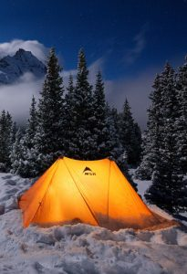 <p>Winter camp in the snow above lower Blue Lake - October.</p>